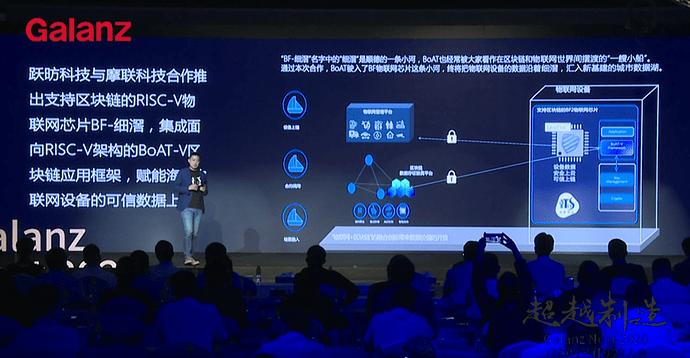 aitos.io CEO 林瑶 现场发布了面向开源RISC-V芯片架构的区块链应用框架版本BoAT-V